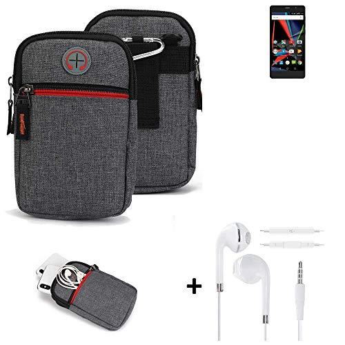 K-S-Trade® Gürtel-Tasche + Kopfhörer Für Archos 55 Diamond Selfie Lite Handy-Tasche Holster Schutz-hülle Grau Zusatzfächer 1x