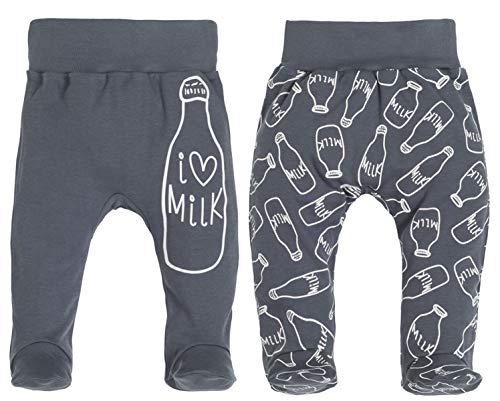 Makoma Baby Strampelhose mit Fuß 2er Pack 100% Baumwolle Jungen & Mädchen (68, Milk)