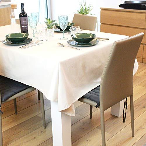 Casaviva Tovaglia rettangolare in Twill di cotone alta qualità, Elegante e moderna, feste e banchetti (Bianco panna, 300)