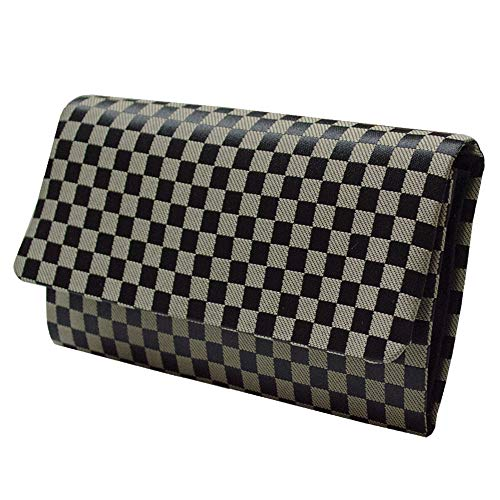 マチ付き数珠袋 市松柄 黒 約16×9.5cm (l339)