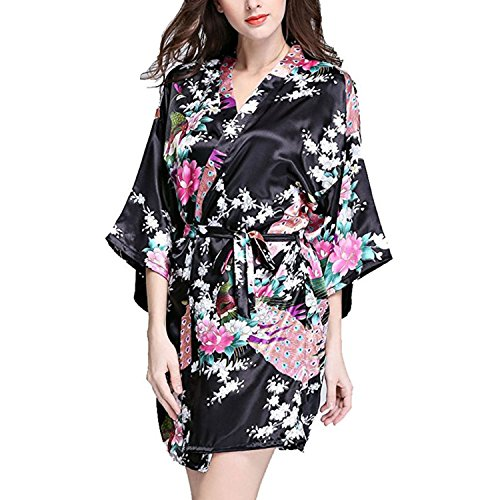 Hammia Mujer Vestido Kimono Corto Pijama Bata Satén Estampado Flores Ropa de Dormir 3/4 Manga con Cinturón Elegante Pijama