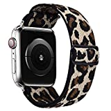 VISOOM Stretchy Band Compatible with Apple Watch Series 6 44mm - Apple Watch Strap 44mm/42mm for iWatch Series SE/5/4/3/2/1 Accessories Elastics Sports Replacement for Men Women (Leopard, 42mm/44mm)