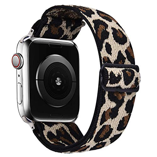 VISOOM Stretchy Band Compatible with Apple Watch Series 6 40mm bands - Apple Watch Strap 38mm/40mm for iWatch Series SE/5/4/3/2/1 Leopard Band Accessories Elastics Sports Replacement for Men Women