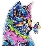 Alittle Pintar por Numeros 40cm x 50cm Marco Pintura para Adultos y Nios con 3X Lupa, Acrlica Pintar y Pinceles - Gato y Mariposa (sin Marco)