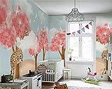 Fotomurales Papel tapiz Papel tapiz 3d personalizado mural nórdico minimalista bosque pintado a mano jirafa cielo azul nube blanca fondo de habitación de niños-Aproximadamente 250 * 175 cm (3 rayas