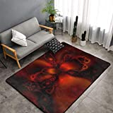 Memory Foam Area Rugs for Hotel Playroom Bedroom, Anti-Skid Backing Doormat Floor Mat Premium Throw Rugs Runner, Anti Fatigue, Classic Horror Blood Splatter Black Red Shaggy Rugs