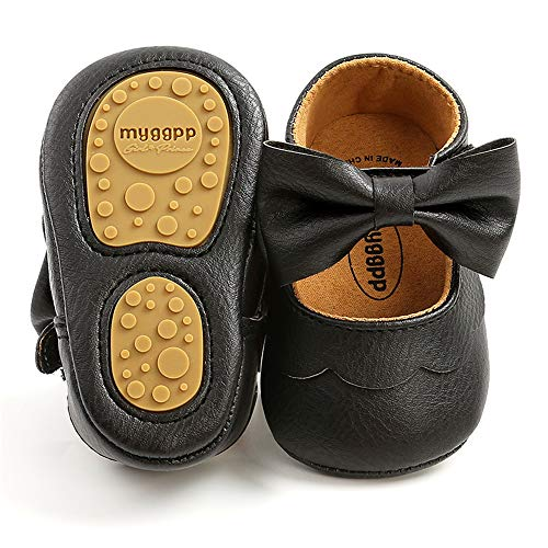 TIMATEGO Baby Girl Mary Jane Flats Shoes Non Slip Soft Sole Infant Toddler First Walker Wedding Princess Dress Crib Shoes, 12-18 Months Toddler, 10 Black