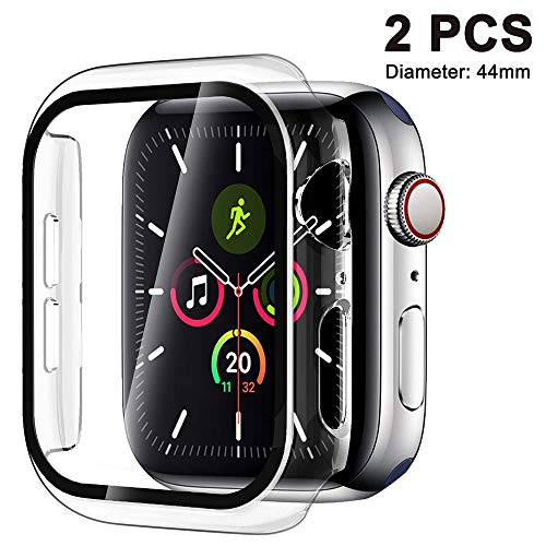 LANilianhuqa - Juego de 2 piezas compatible con Apple Watch Series 5 / Series 4 fundas de 40 / 44 mm con protector de pantalla de vidrio templado, 360 ° funda protectora ultra fina