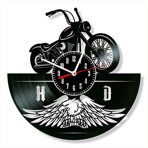 "Harley Davidson Vinyl Clock, Harley Davidson Wall Clock 12"", Unique Original Decor, The Best Home Decorations"