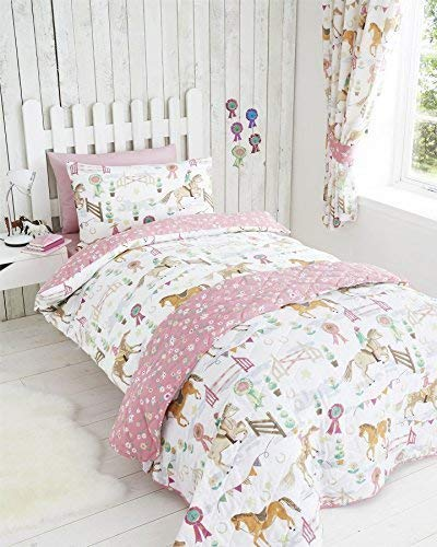 Horses Animals Girls Quilt Duvet Cover & Pillowcase Bedding Bed Set - UK Single / US Twin