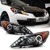 ACANII - For 2010-2012 Hyunda Genesis Coupe LED Halo Black Housing Projector Headlight Headlamp, Driver & Passenge Side