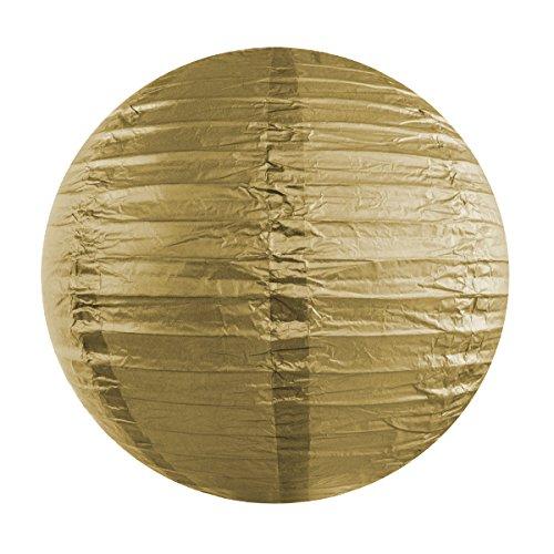 Simplydeko Lampion | Papierlaterne | Papier-Laterne | Papierlampion für Party, Garten & Hochzeit | Gold | 35 cm