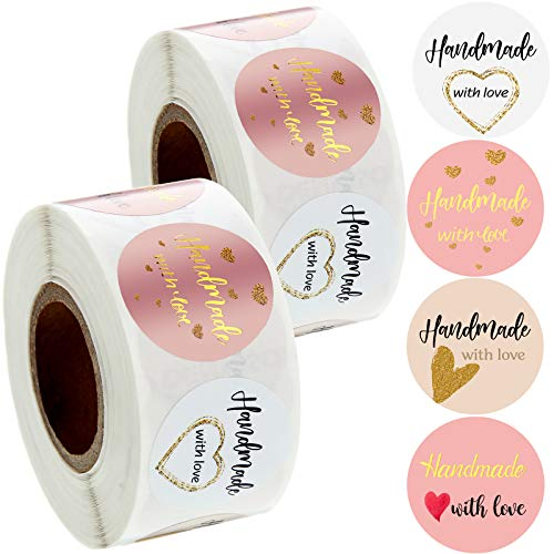 1000 Pegatinas de Amor Handmade with Love Pegatinas de Regalo de Negocios Hecho a Mano 4 Diseños de Etiquetas Redondas para Pequeñas Empresas de Pastelería Decoraciones Artesanales (1 Pulgada)