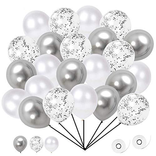 Jeaxus 60 Stück Luftballons, Konfetti Ballons Matellic Latex Ballons Helium Ballons für Hochzeit Mädchen Kinder Geburtstag Party Dekoration (Silber)