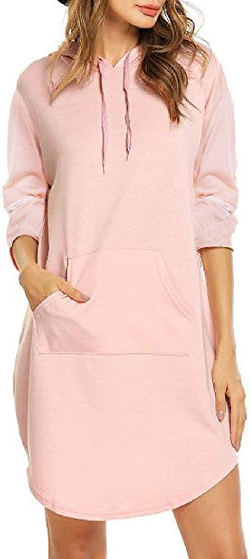 Spring Autumn Woman Casual Shirt V Neck Medium Long Arc Hem Hoodies (PinkXL)