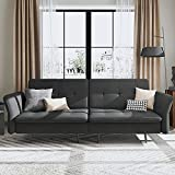 HONBAY Convertible Folding Futon Sofa Bed for Small Space, Sleeper Sofa Couch with Adjustable Armrest and Tufted Cushions, Dark Grey