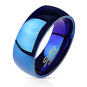 Bungsa 64 (20.4) Blauer Ring Edelstahl klassisch für Damen & Herren 49-70 (Fingerring Schmuckring Blue Partnerringe Damenring Herrenring Chirurgenstahl Frauen Männer) 64 (20.4)