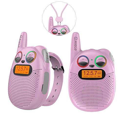 QNIGLO Q136 Walkie Talkie Niños Recargable,Radio FM Alcance de 2 Km Ojos LED Parpadeantes Correa Portátil de Reloj,Montar en Bicicleta Caminar Acampar Correr,Mejor Regalo Juguete(Q136_Pink)