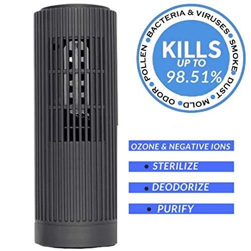 PurifiedO2 Purificateur d'air ionique portable – Générateur d'ozone sans filtre | Mini ioniseur d'air pour voiture Voyage Bureau Réfrigérateur | Bactéries, moisissures, fumée et odeurs - Gris foncé