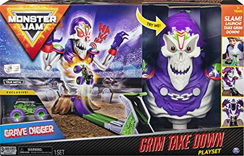 Monster Jam, Grim Takedown Playset with Lights & Sounds, Featuring Exclusive 1: 64 Scale Die-Cast Grave Digger Monster Truck