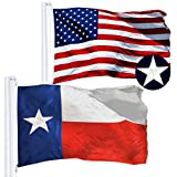 G128 Combo Pack: USA American Flag 3x5 Ft Embroidered Stars & Texas State Flag 3x5 Ft Embroidered