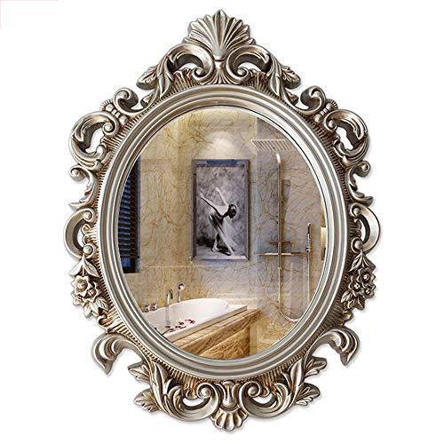 Oval Wall Mounted Bathroom Mirror Vintage Decorative Makeup Vanity Resin Frame Dressing for Bedroom Entryway Hanging Dresser Décor