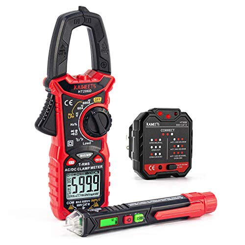 KAIWEETS HT206D DC Clamp Meter & GFCI Outlet tester & Voltage Pen