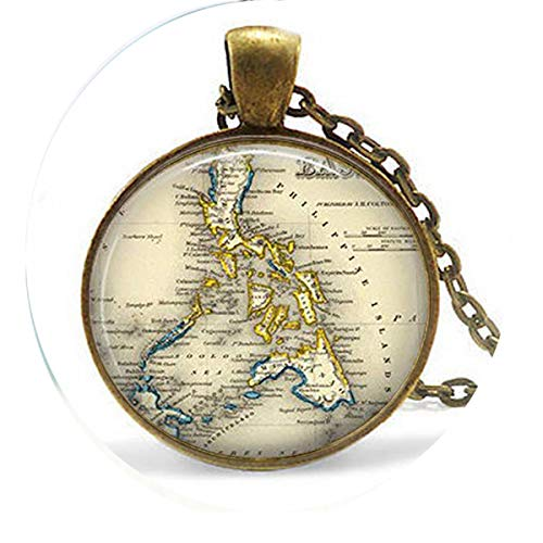 asd Vintage Philippines - Filipina Jewelry - Southeast Asia Map - Philippines Keychain Necklace - Religious Jewelry