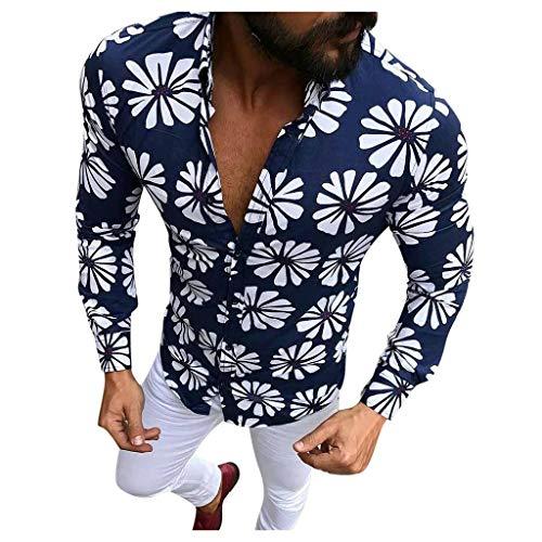 Dragon868_Camisas de hombres Camisas Hombres, Caballero Moda Casual Solapa Slim Fit Manga Larga Estampada Flores de Hawaiana Playa Ropa Hombre Verano Fiesta de Bodas CumpleañOs, M-XXXL