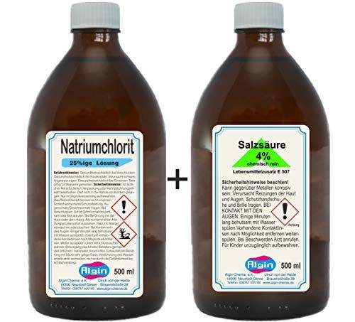 Natriumchlorit +Salzsäure je 500 ml GLAS-Flaschen= 2 Flaschen-Chlordioxid 2K Aspex
