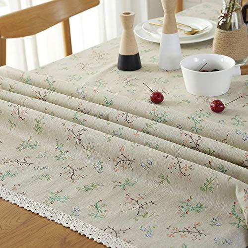 Hanggg Tischdecke, klein, Blumenmuster, aus Baumwolle und Leinen, hydyllisch, klein, frische Tischdecke, für zu Hause, staubdichtes Tuch 140*250CM Pizzo