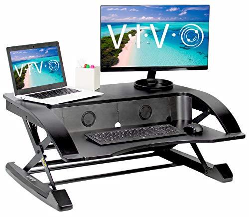 VIVO Black Elegant Height Adjustable 36 inch Standing Desk Converter, Sit Stand Tabletop Dual Monitor and Laptop Riser Workstation (DESK-V000R)