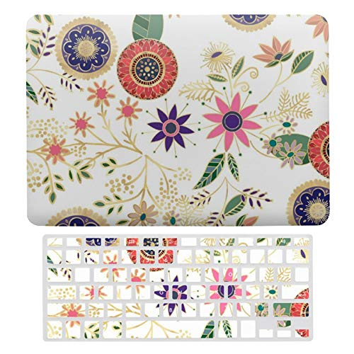 For MacBook Air 13 Case A1466、A1369, Plastic Hard Shell & Keyboard Cover Compatible with MacBook Air 13, Trendy Colorful Folk Floral Original Golden Design-18 Laptop Protective Shell Set