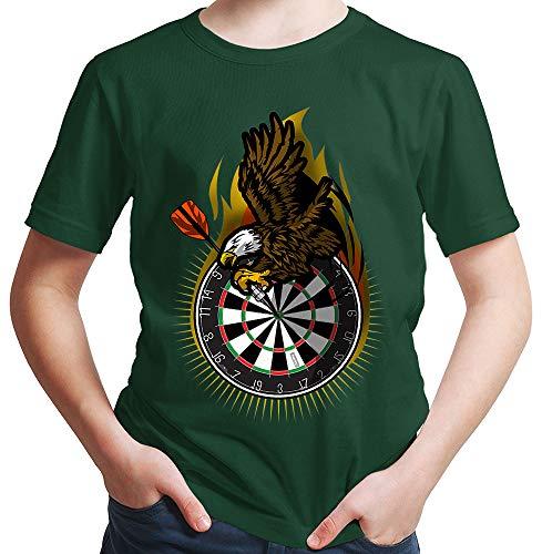 HARIZ Jungen T-Shirt Adler Dartscheibe Dart Darten Männer Sport Fun Trikot Plus Geschenkkarten Dunkel Grün 140/9-11 Jahre
