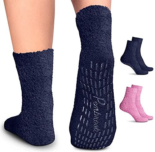 Pembrook Non Skid Socks - Hospital Socks - Fuzzy Slipper Socks -...