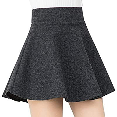 Gihuo Women's Wool Blend Stretchy Flared Casual Mini Skater Skirt