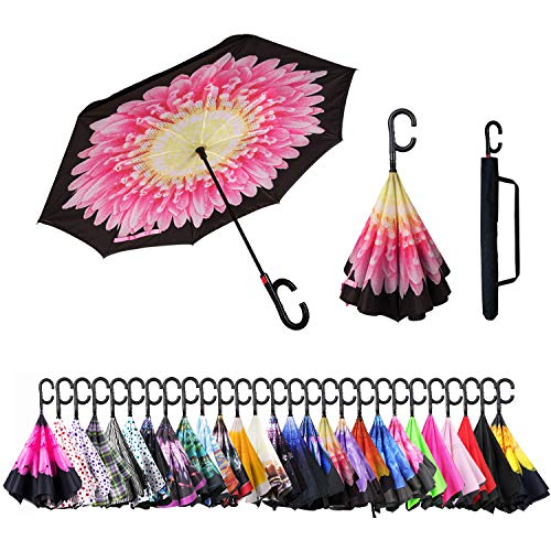 Inverted Umbrella Cars Reverse Umbrella UV Protection Windproof Umbrella for Car Rain Outdoor with C-Shaped Handle(Sunflower)