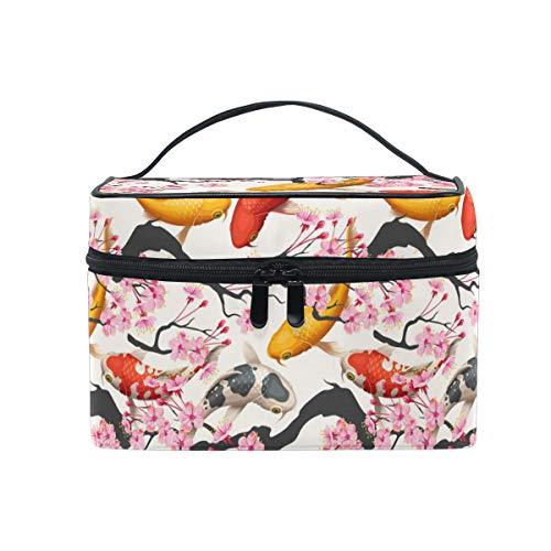 HaJie - Bolsa de maquillaje de gran capacidad, organizador de maquillaje, diseño de flores de cerezo japonés, para viajes, portátil, bolsa de almacenamiento, bolsa de lavado para mujeres y niñas