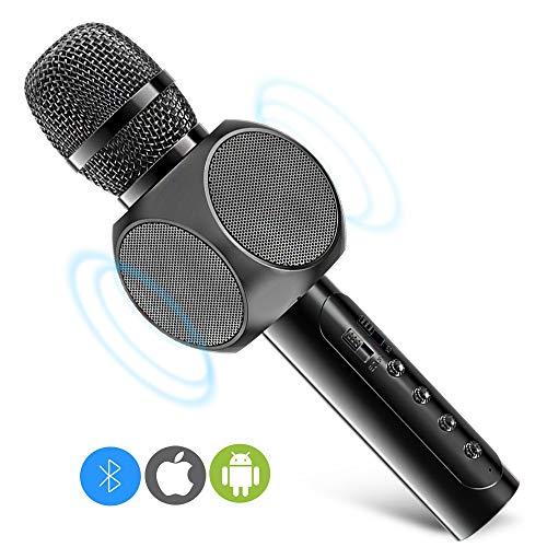 Micrófono Inalámbrico Karaoke Bluetooth, 2 Altavoces Incorporados, Batería de 2200mAh, 3.5mm AUX, Compatible con PC/iPad/iPhone/Smartphone, Color Negro