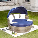 LOKATSE HOME Patio Round Daybed with Retractable Canopy Outdoor Wicker Rattan Furniture Sofa All-Weather Separated Seating with Washable, Blue with White Cushions