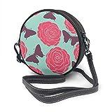 Bolso bandolera de piel con diseño de rosas y mariposas, redondo, con correa ajustable para el hombro para mujer