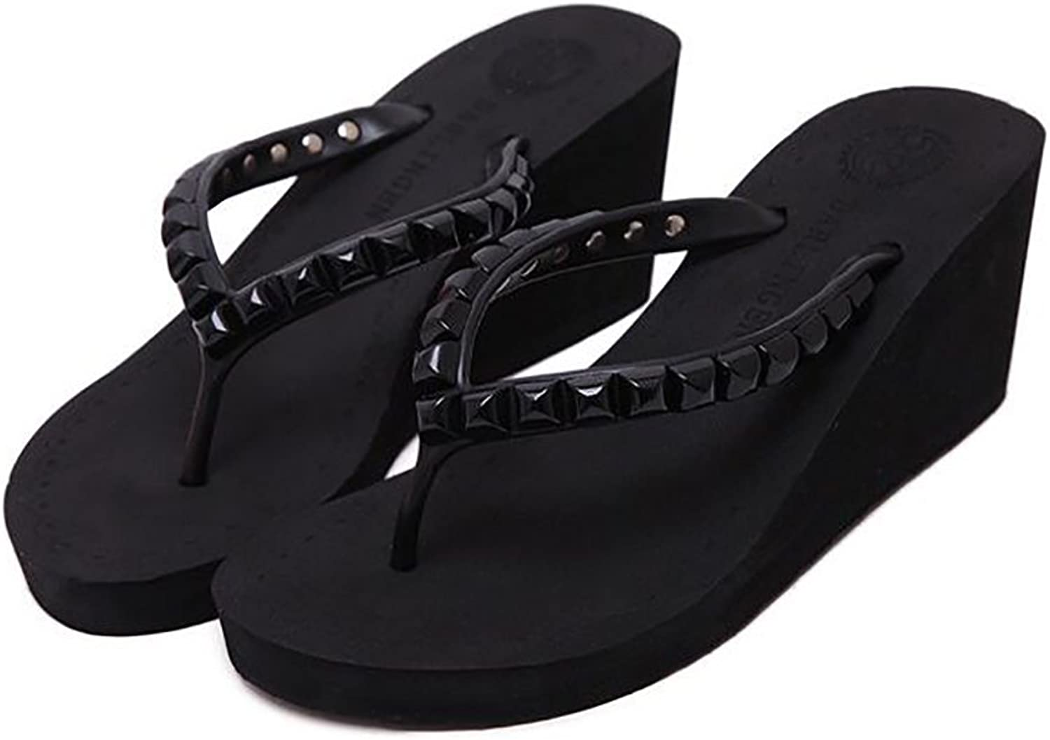 Comfortable Breathable Flip Flops Sandals Women's Summer Beach Rivets Wedge shoes,Black,38