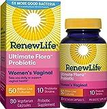Renew Life Women's Probiotics 50 Billion Guaranteed, Probiotic Supplement, 10 Strains, Shelf Stable, Gluten Dairy & Soy Free, 30 Capsules, Ultimate Flora Women's Vaginal - 60 Day Money Back Guarantee