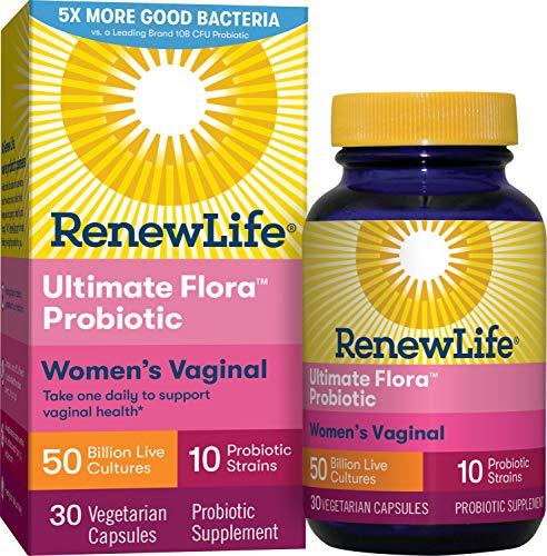 Renew Life Women's Probiotics 50 Billion CFU Guaranteed, 10 Strains, Shelf Stable, Gluten Dairy & Soy Free, 30 Capsules,  Ultimate Flora Women's Vaginal