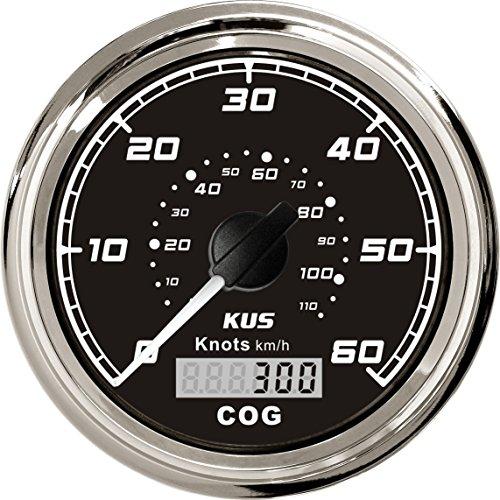 KUS GPS velocímetro cuentakilómetros calibre 60Knots para barcos yates 85mm 12V/24V (negro)