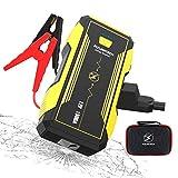 FLYLINKTECH Booster Batterie 1500A 16000mAh Portable Jump Starter Démarreur de Voiture 12V (jusqu'à 8000cc essence et 6000cc Diesel) De moto Power Bank Feux LED rouges & bleus