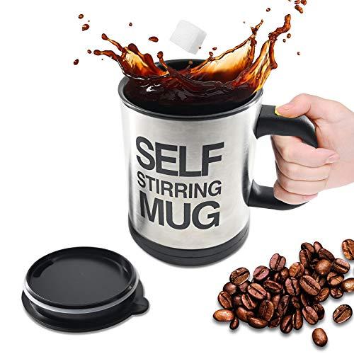 Automatischer Rührkaffeetasse, elektrischer Edelstahl-Thermobecher zum Umrühren von Kaffee, heißer Schokolade, Milch, Shake, für Büro/Schule/Küche/Reisen(Batterien nicht im Lieferumfang enthalten)