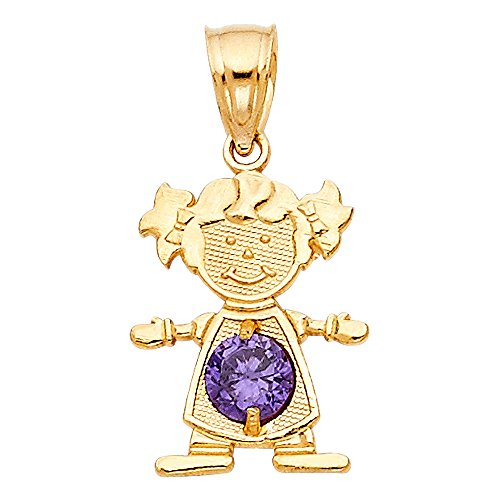 Ioka - 14K Yellow Gold February Birthstone Cubic Zirconia CZ Girl Charm Tiny Pendant For Necklace or Chain