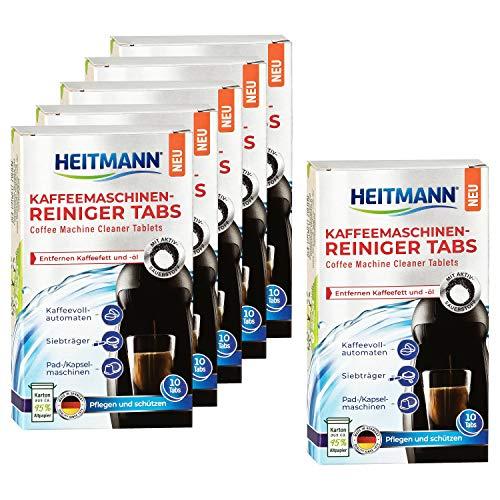 HEITMANN Kaffeemaschinen-Reiniger-Tabs - 10 Stück - Für Kaffeevollautomaten, Siebträger sowie für Pad- und Kapselmaschinen, 6er Pack