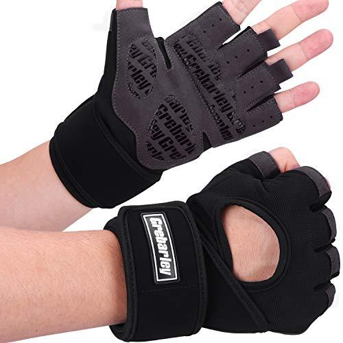 Grebarley Fitness Handschuhe, Trainings Handschuhe, Gewichtheber Handschuhe, Atmungsaktive Sporthandschuhe mit vollem Handflächenschutz, Crossfit, Trainings, Bodybuilding, Kraftsport (schwarz, L)
